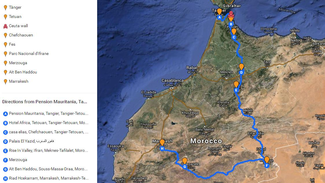 map of Morocco with a dotted line marking the itinerary of stops
